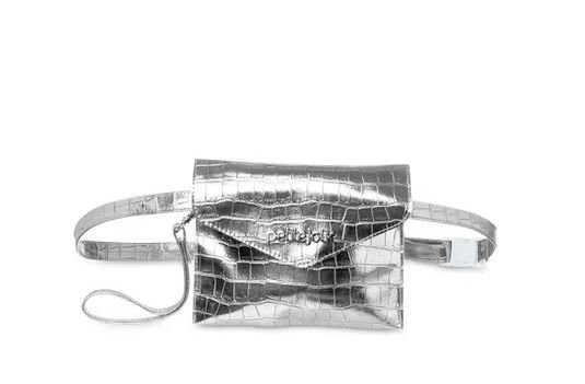 Bolsa Pochete Belt Petite Jolie PJ4411 Croco/Croco Prata/Prata