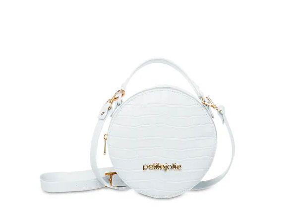 Bolsa Petite Jolie Mini Round PJ4871 J-Lastic/Croco Preto/Branco