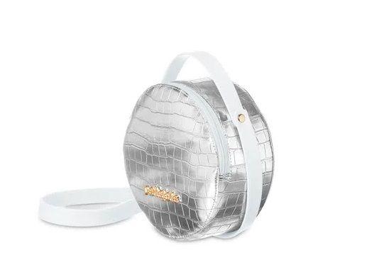 Bolsa Petite Jolie Mini Round PJ4871 J-Lastic/Croco Branco/Prata