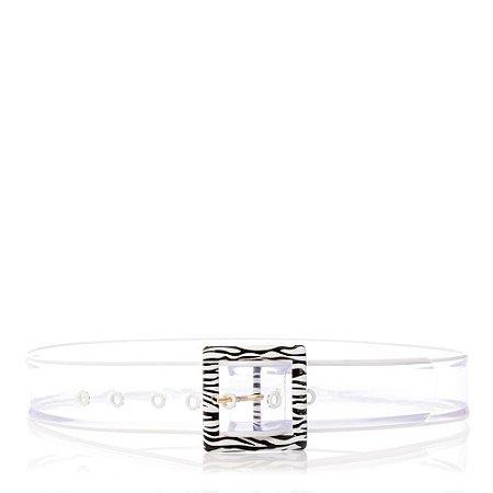 Cinto retro Petite jolie PJ4789 Translucido Branco/zebra