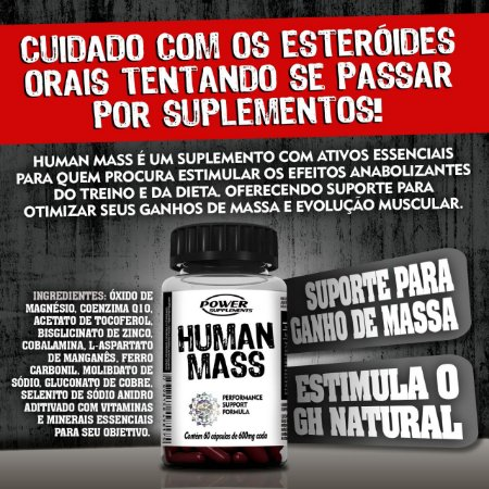 Human Mass 600mg Power Supplements 60 Cáps