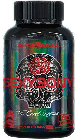 Sexy Bony Black Skull USA 60 Cáps