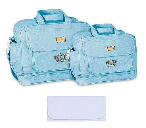 Kit Bolsa Maternidade Azul Claro com Trocador Mave Baby