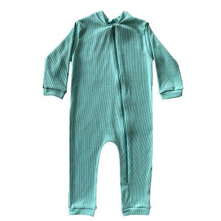 Macacão Bebê Bento Malha Canelada Verde Absinto