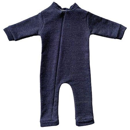 Macacão Bebê Bento em Algodão cor Azul Jeans
