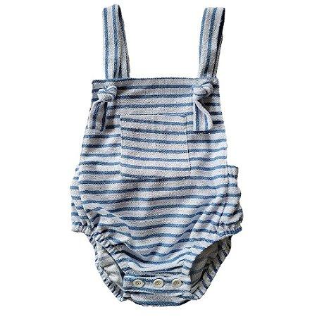 Body Bebê Joaquim Malha Sustentável Listras Azul Céu
