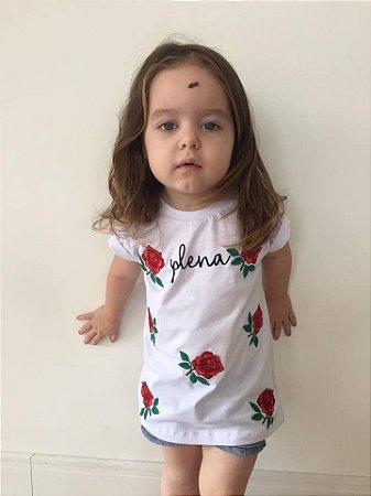 Camiseta Infantil Plena Bordada