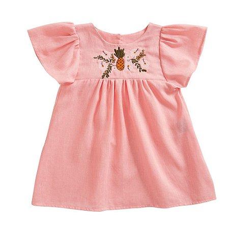 Vestido Maria Linho Bordado Rosa Baby
