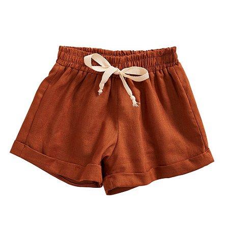 Shorts Infantil Sebastião Linho Marrom