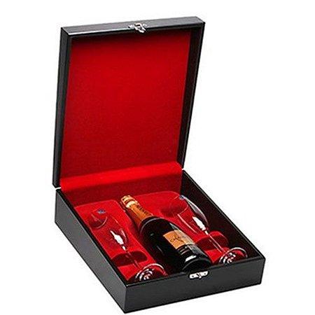 Kit Espumante Chandon Brut 750ml Caixa de Madeira com Taças de Cristal