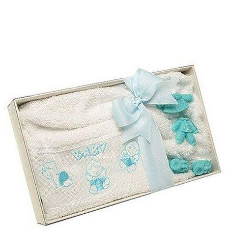 Caixa com Toalha Infantil Lavabo Baby Azul