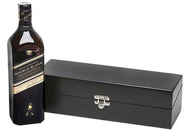 Kit Whisky Johnnie Walkeer Double Black 1 Litro Caixa Madeira