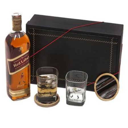 Kit Whisky Red Label 1 Litro Johnnie Walker com Copos e Porta Copos