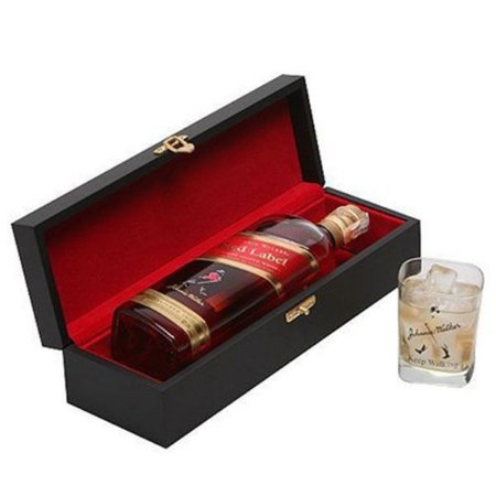 Kit Whisky Johnnie Walker Red Label 1 Litro Caixa Madeira