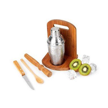 Kit Caipirinha em Bambu com Coqueteleira Inox