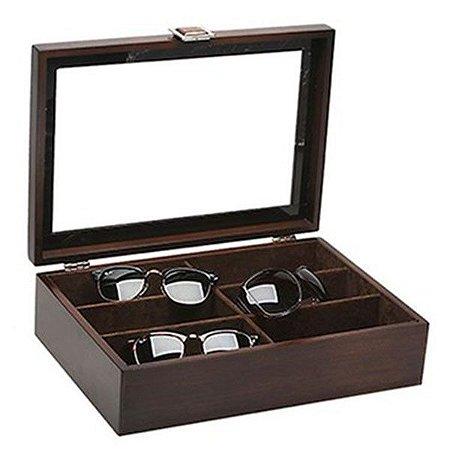 Caixa Para 06 Óculos MDF Tampa em Vidro