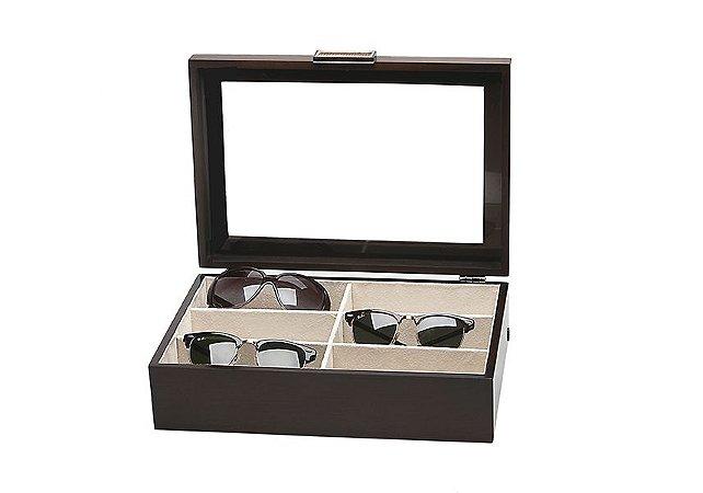 Caixa para 06 Óculos MDF Marrom Tampa em Vidro