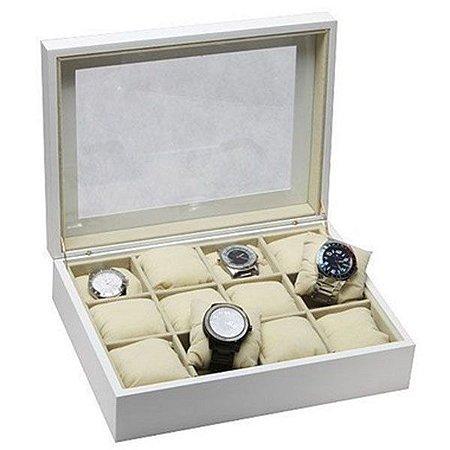 Porta Relógios Branco Madeira para 12 Unidades Tampa Vidro
