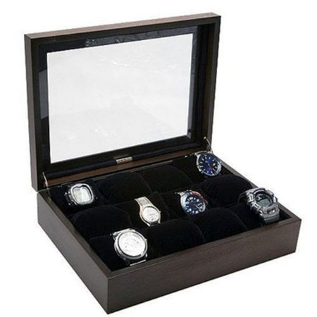 Porta Relógios Madeira para 12 Unidades Tampa Vidro