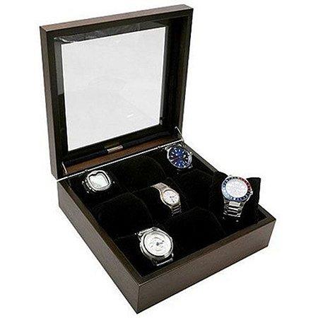 Porta Relógios Madeira para 9 Unidades Tampa Vidro
