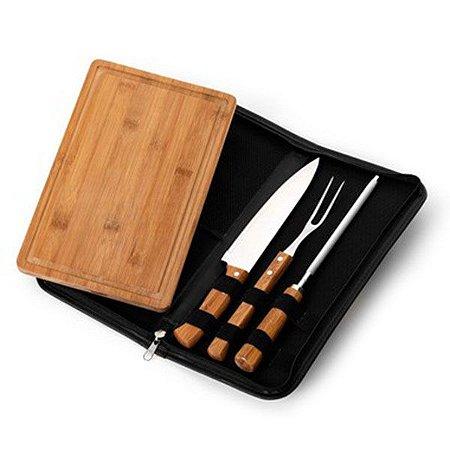 Kit Churrasco em Bambu 4 Peças com Estojo Couro Sintético