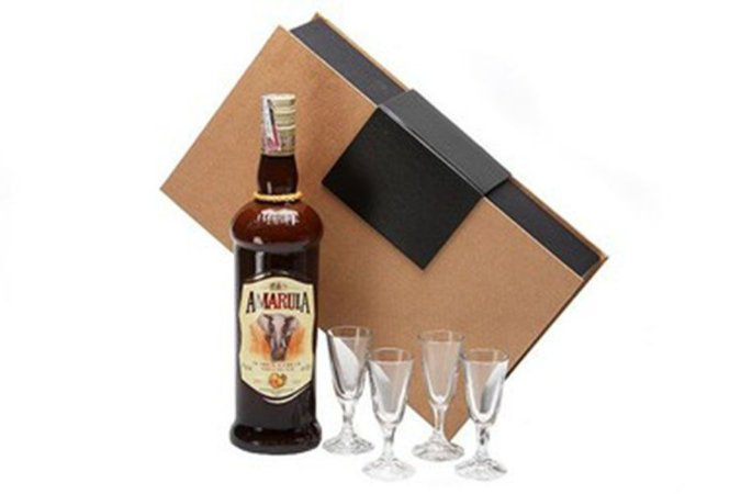 Kit Licor Amarula 750ml com Cálices Cristal