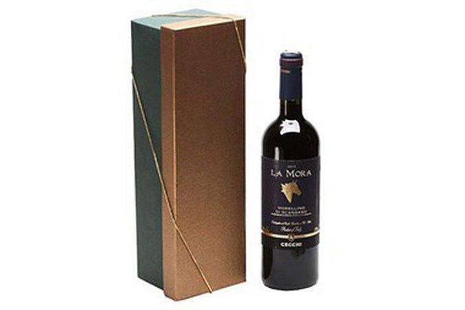 Kit Vinho Italiano Tinto La Mora Cecchi 750ml Caixa Dourada