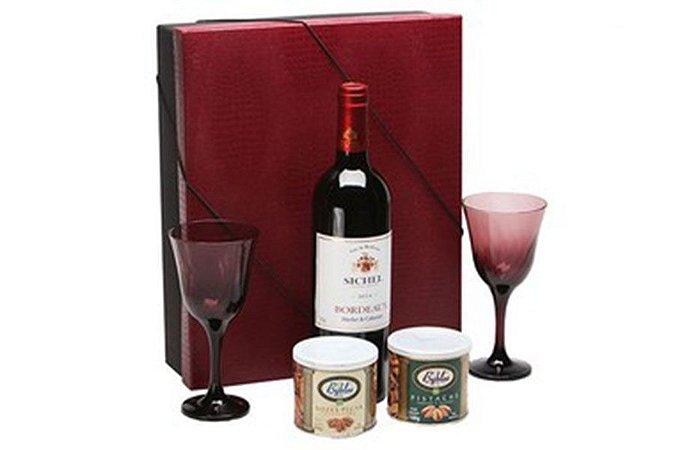 Kit Vinho Frances Tinto Sichel 750ml com Taças e Castanhas