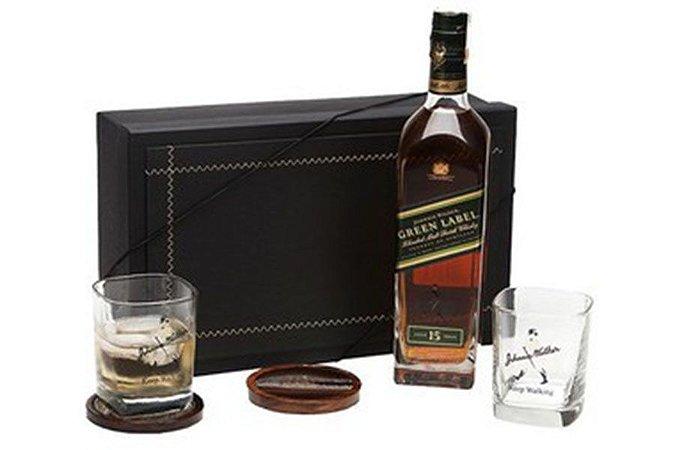 Kit Whisky Johnnie Walker Green Label 750ml com Copos e Porta Copos