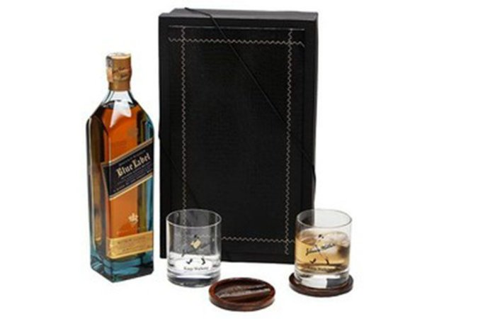 Whisky Johnnie Walker Blue Label 750ml Copos Cristal e Porta Copos