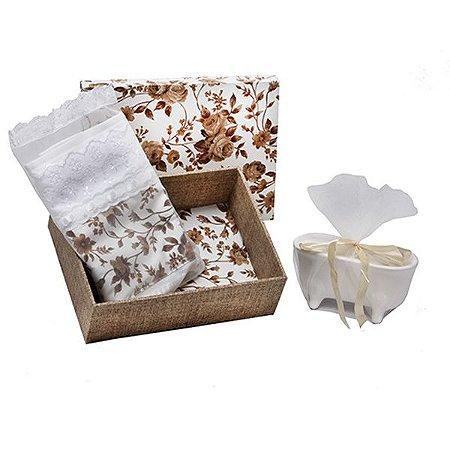 Caixa MDF com Tecido Toalha Lavabo e Saboneteira