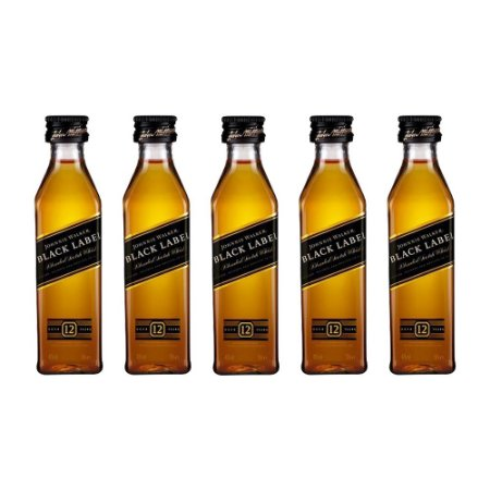 Whisky Black Label Mini 50 ml Kit com 5 Unidades