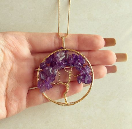 Colar Maxi Mandala Árvore da Vida com Pedras Naturais Ametista Dourado