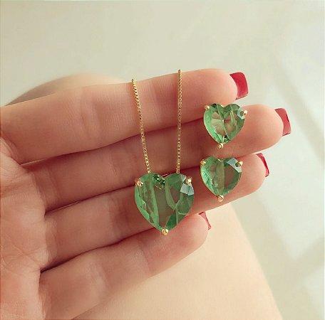 Conjunto Coração Pedra Rajada Verde Turmalina Dourado