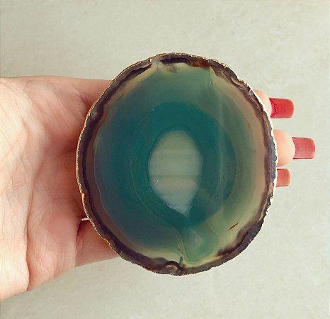Pocket Socket Chapa de Pedra Natural Agata Verde Dourado