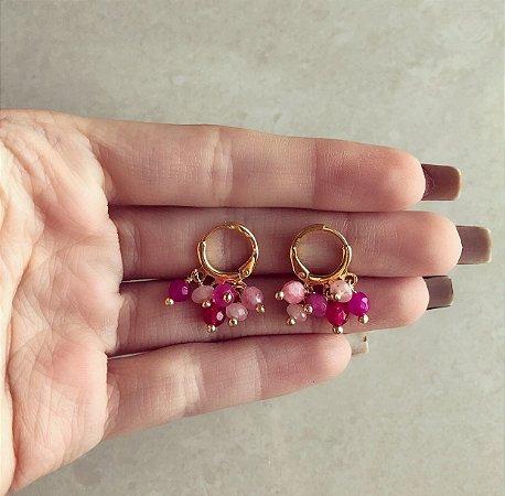 Argolinha Tripla Cacho de Pedras Naturais Degradê de Jade Pink Dourado