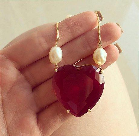 Corrente Maxi Coração Luxuoso Cristal Vermelho Cereja e Pérolas Naturais de Água Doce Dourado