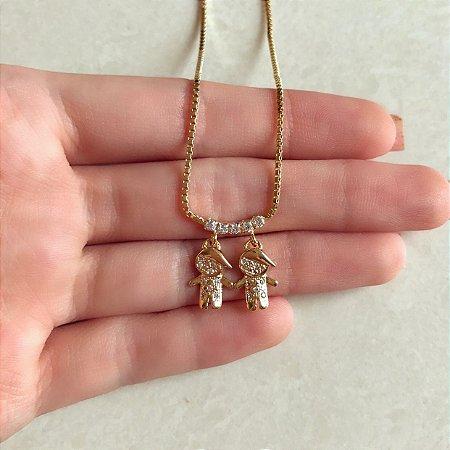 Corrente 2 Filhos Zircônias Diamond Dourado