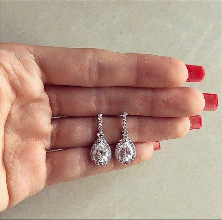 Brinco Princesa Micro e Maxi Zircônias Diamond Ródio Branco