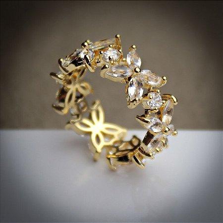 Anel Riviera Florzinhas Zircônias Diamond Ouro 18k (13/14)