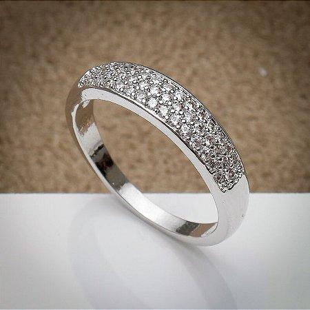 Anel Aparador Cravação de Zircônias Diamond Ródio Branco