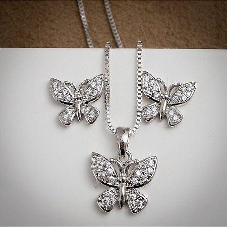 Conjunto Borboleta Zircônias Diamond Ródio Branco