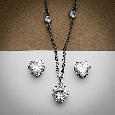 Conjunto Coração Maxi Zircônia Diamond Ródio Negro