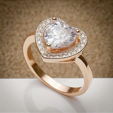 Anel Luxo Coração Cravação de Zircônias Diamond Ouro Rosé