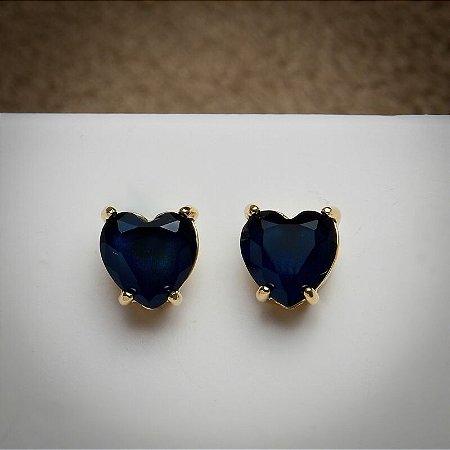 Brinco Coração Grande Zircônia Azul Marinho