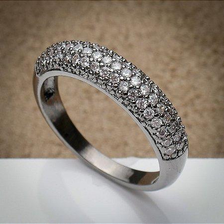 Anel Aparador Cravação de Zircônias Diamond Ródio Negro