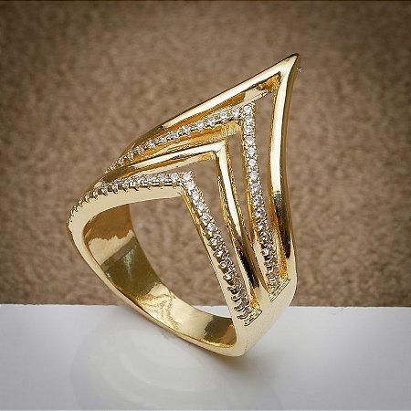 Anel Luxo Pontas Cravação de Zircônias Diamond Dourado