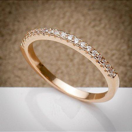Anel Filete Micro Cravação de Zircônias Diamond Ouro Rosé