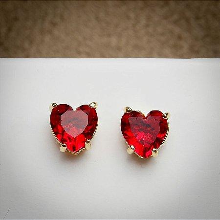 Brinco Coração Grande Zircônia Rubi Dourado