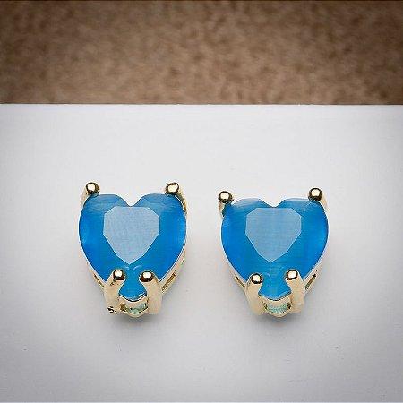 Brinco Coração Pedra Calcedônia Azul Topázio